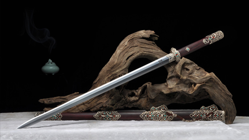 Zi Ying Tang Jian Chinese Sword Ebony Scabbard Hand-Carved Brass Fittings with Gems--sgl3100