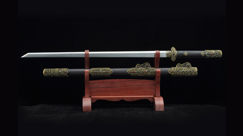 Zi Ying Tang Dao Chinese Sword Ebony Scabbard Hand-Carved Brass Fittings with Gems--sgl5008