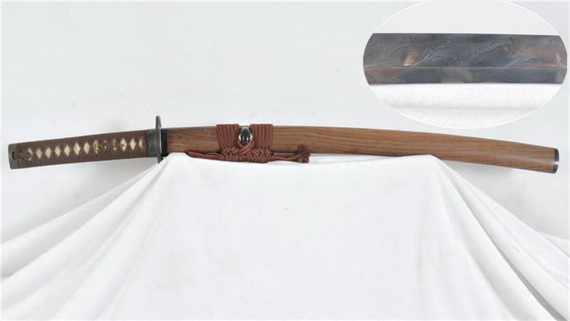 Feathered-Pattern Japanese Wakizashi Folded Steel Antiqued Iron Tsuba Hand-forged--Ryan1202
